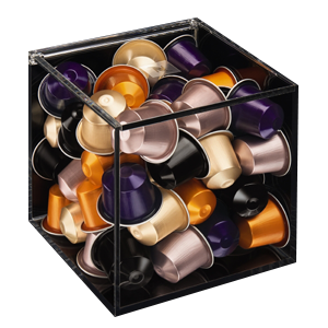 Transparent cube-shaped capsule dispenser in Plexiglas® with a capacity up to 50 capsules (supplied without capsules). An essential coffee accessory and elegant solution for storing your Nespresso Grands Crus, it is cube-shaped and made of transparent Ple